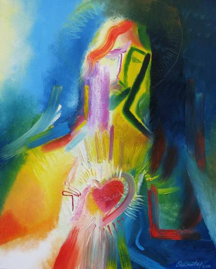 SACRED HEART OF JESUS—The Sacred Heart of Jesus is depicted in a modern painting by Stephen B. Whatley, an expressionist artist based in London.(CNS photo/Stephen B. Whatley)